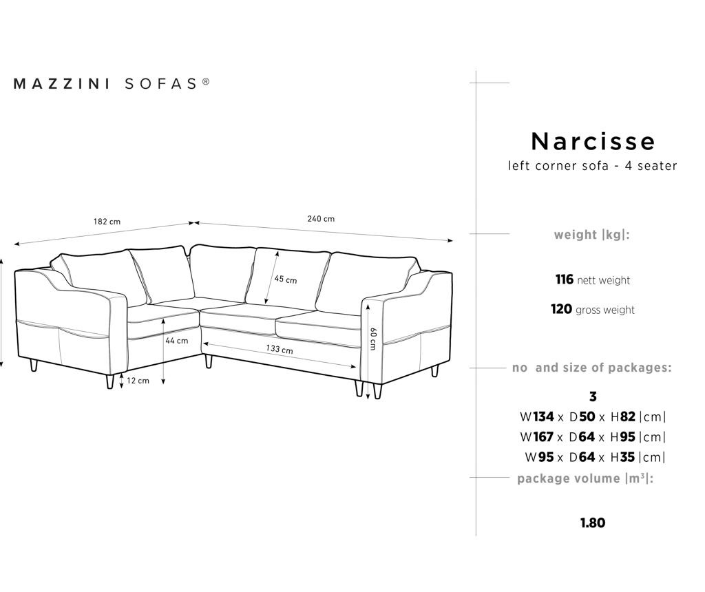 Narcisse Dark Grey Baloldali  kihúzható sarokkanapé