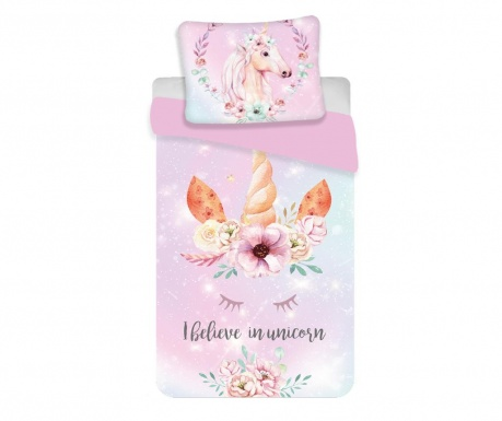 Set de pat Single Unicorn pink
