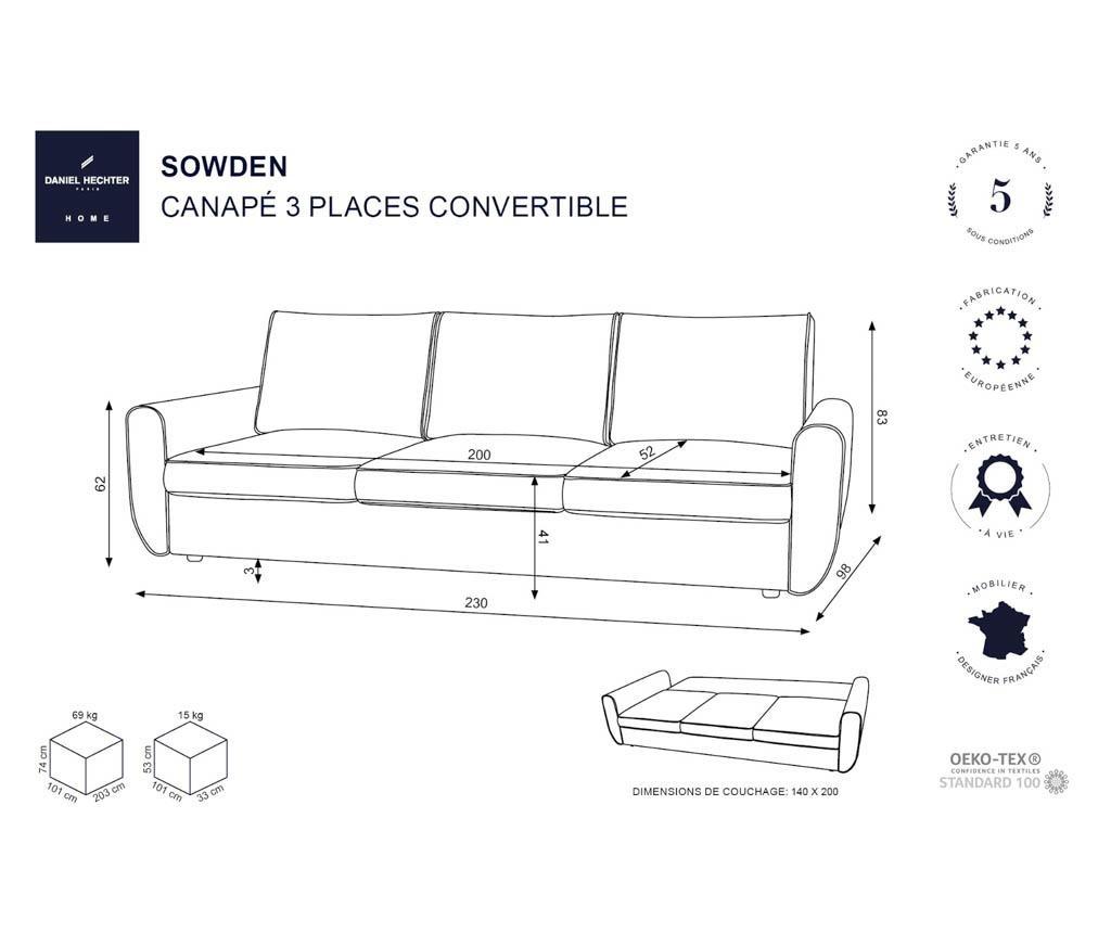 Canapea extensibila 3 locuri Sowden Green Grey