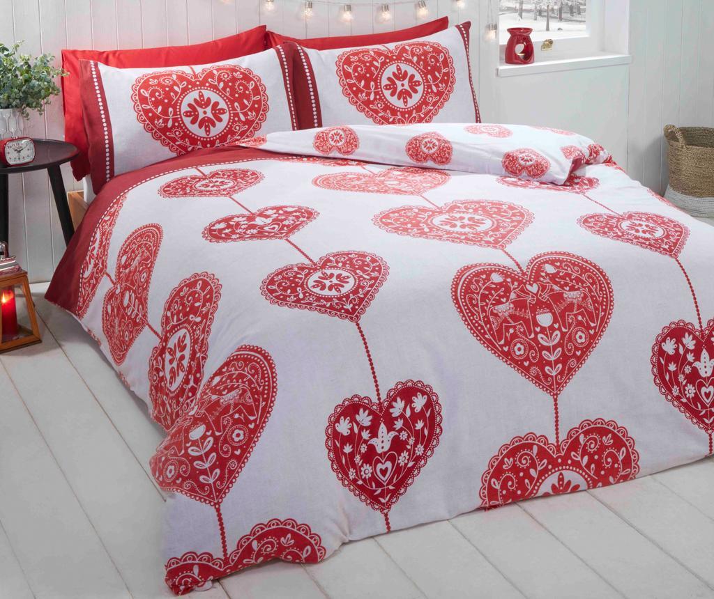 Set de pat Double Scandi Heart BC Red Double - Rapport Home, Multicolor