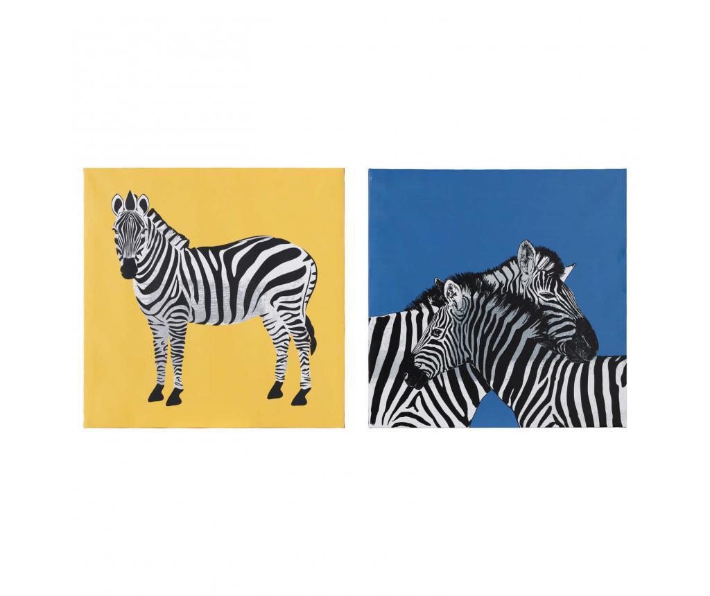 Set 2 tablouri Zebra 60x60 cm - Ixia