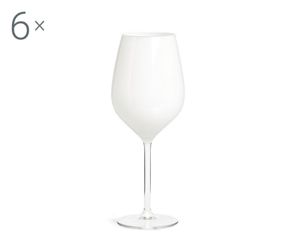 Set 6 pahare pentru vin Rolando White 500 ml - Excelsa, Alb