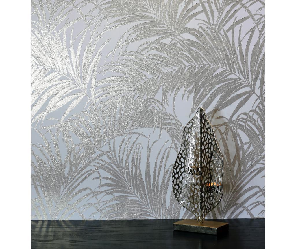 Tapet Palm Rose Gold Kiss Foil 53x1005 cm - Arthouse, Gri & Argintiu