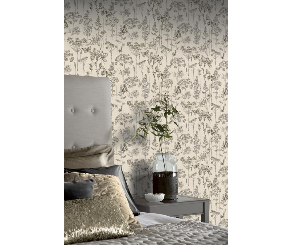 Tapet Meadow Floral Charcoal & Ochre 53x1005 cm - Arthouse