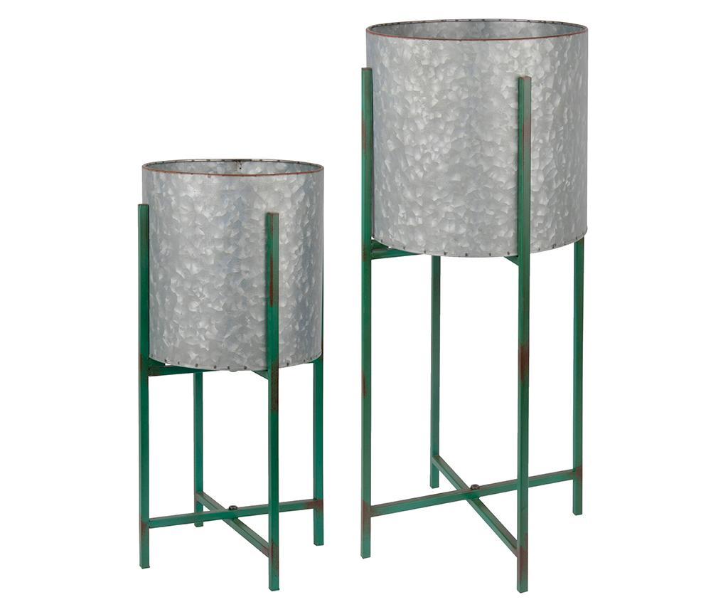 Set 2 suporturi pentru ghivece - Esschert Design, Gri & Argintiu