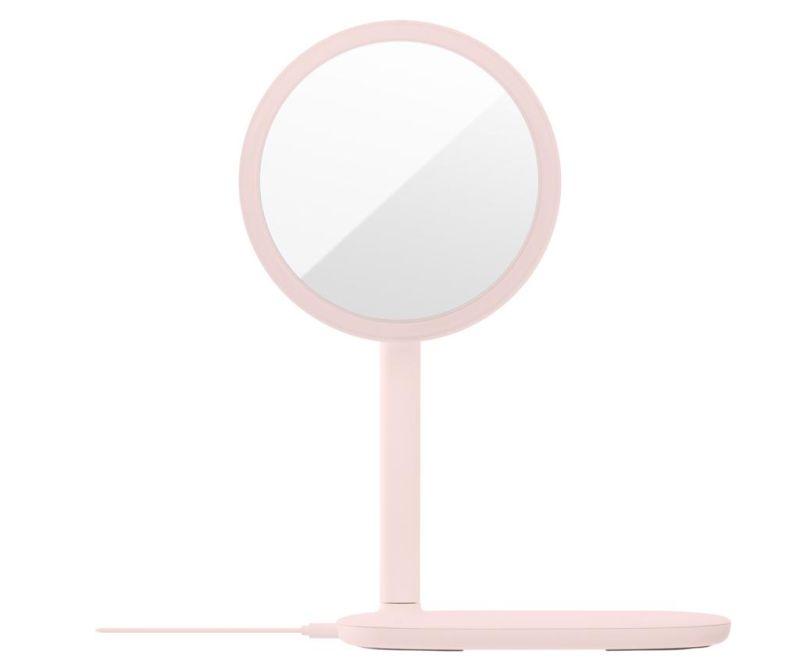 Brezžični mobilni polnilnik z LED sijalko in ogledalom Minimal Pink