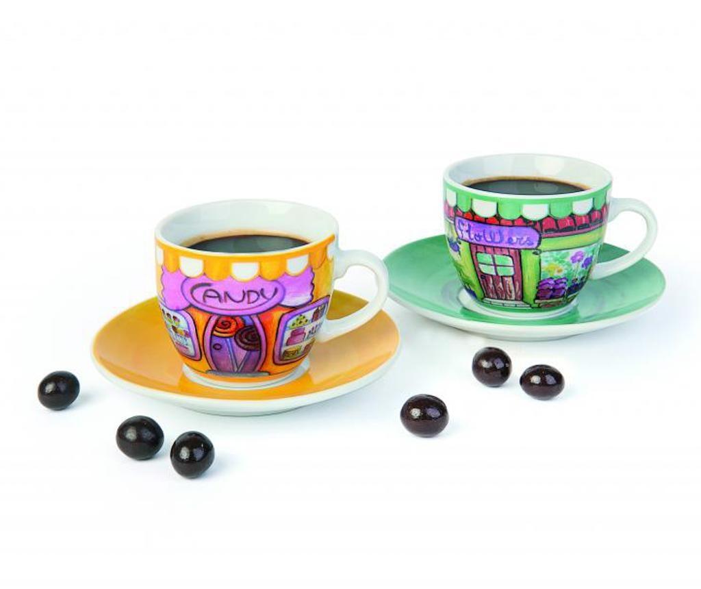 Set 6 skodelic za kavo in 6 krožničkov Shop