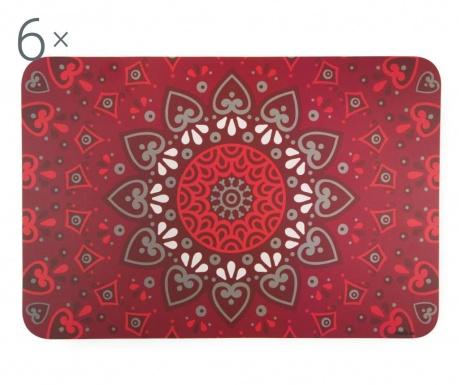 Set 6 podmetača Mandala Red
