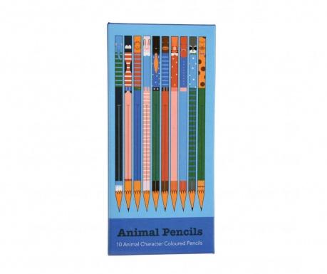 Set 10 creioane colorate Animals