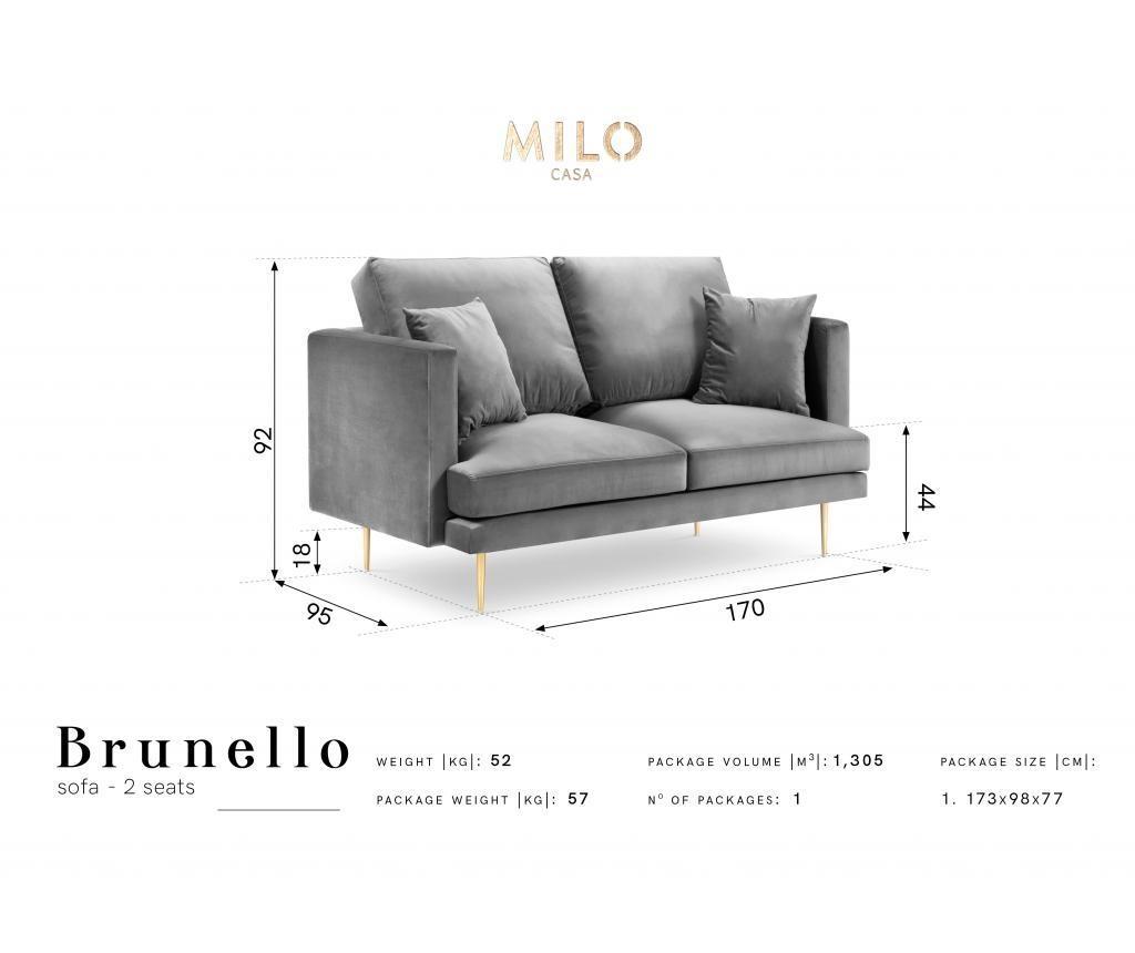 Canapea cu 2 locuri Brunello Dark Grey