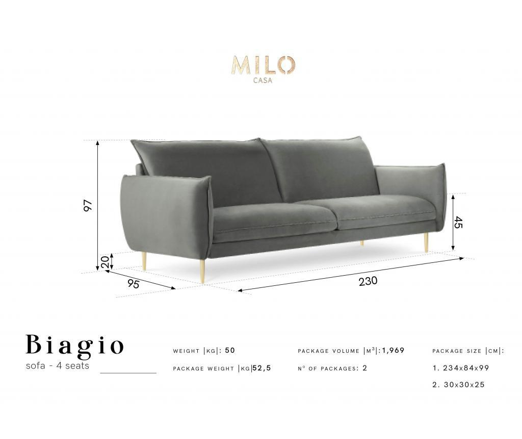 Sofa cu 4 locuri Biagio Royal Blue