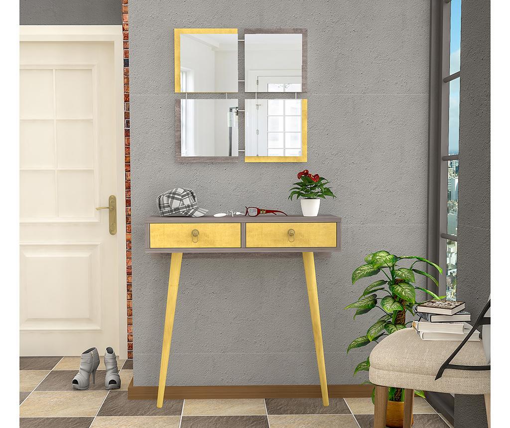 Set consola si 4 oglinzi Yellow - Oyo Concept, Gri & Argintiu