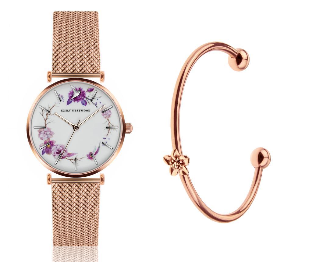 Set ceas de mana si bratara dama Flower Wreath Mesh and Flower Cuff - Emily Westwood