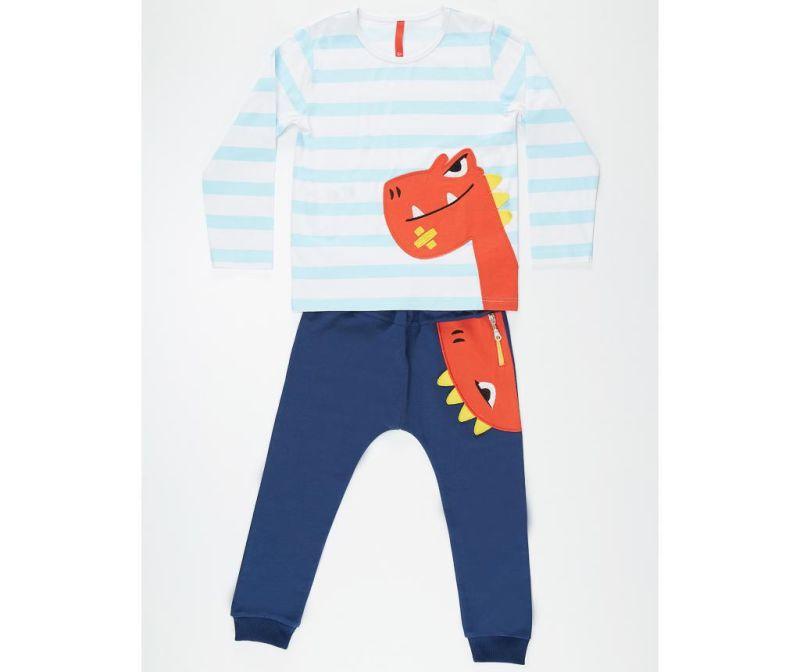 Set bluza si pantaloni pentru copii Orange Dino 3 ani