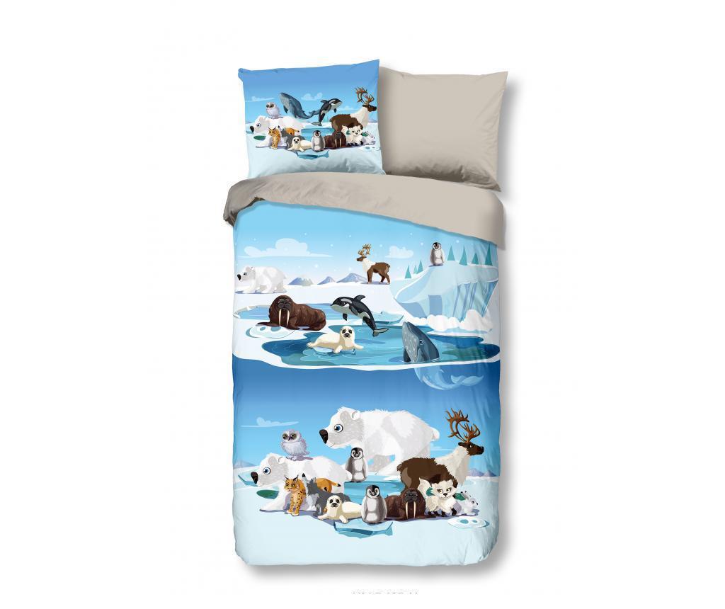 Set De Pat Single Flannel Pentru Copii Ice - Good Morning, Albastru
