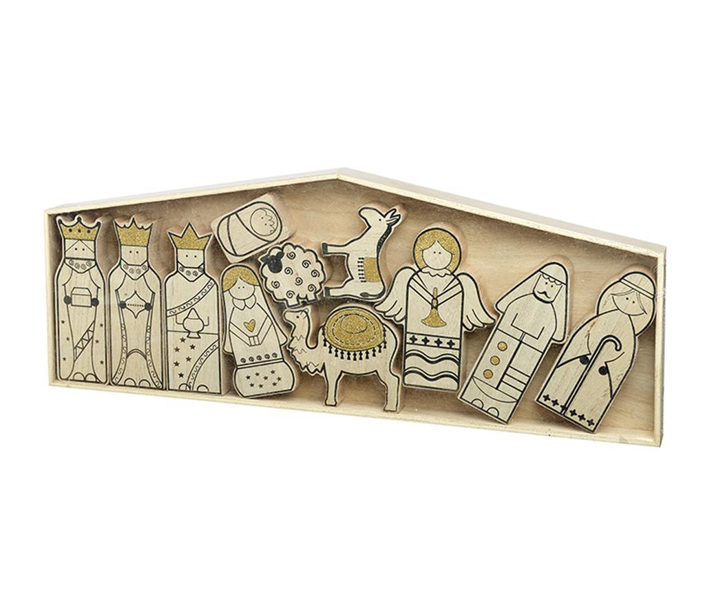 Set de 11 decoratiuni Nativity - Heaven Sends, Galben & Auriu