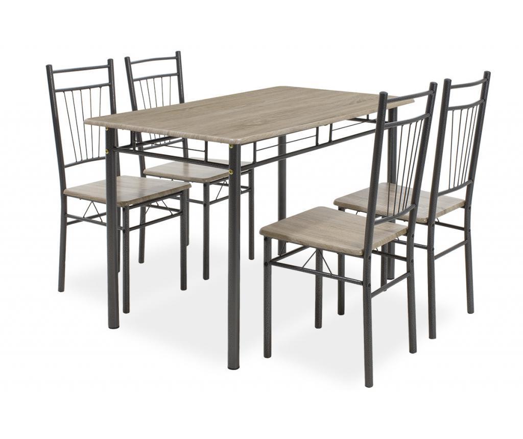 Set masa si 4 scaune Roza Dark Grey - PAKOWORLD, Alb,Gri & Argintiu