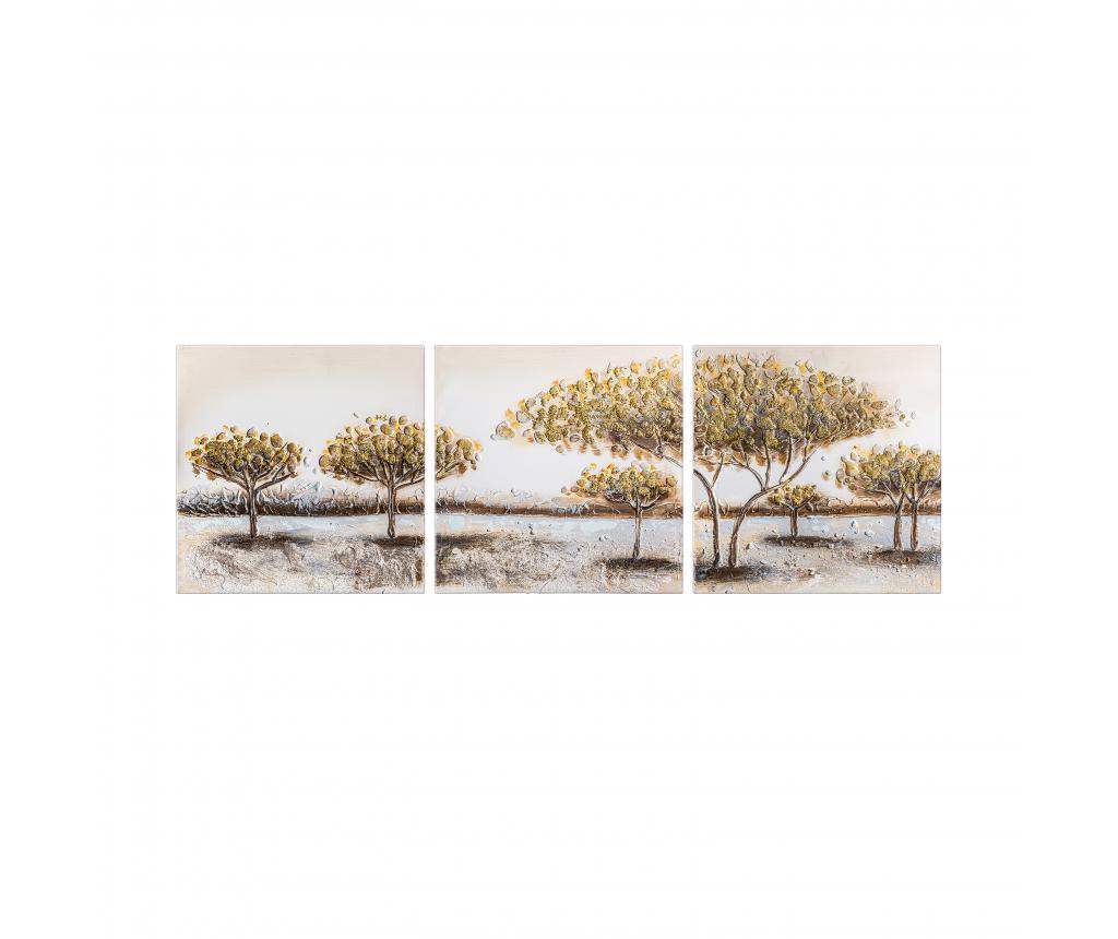 Set 3 tablouri Sabana 50x50 cm - Burkina, Alb