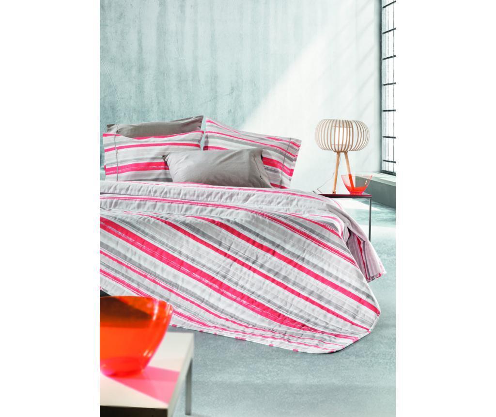 Set 2 cearsafuri de pat si 2 fete de perna King Extra Optic Coral - Guy Laroche Home, Portocaliu,Rosu