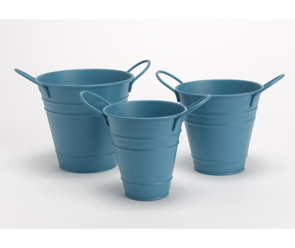 Set 3 posude za cvijeće Bucket Blue