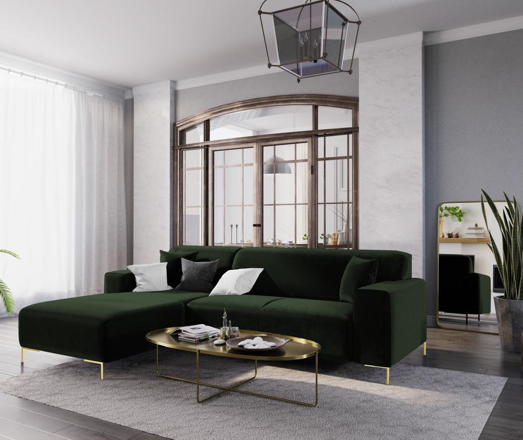 Ljeva kutna sofa četverosjed Modena Bottle Green