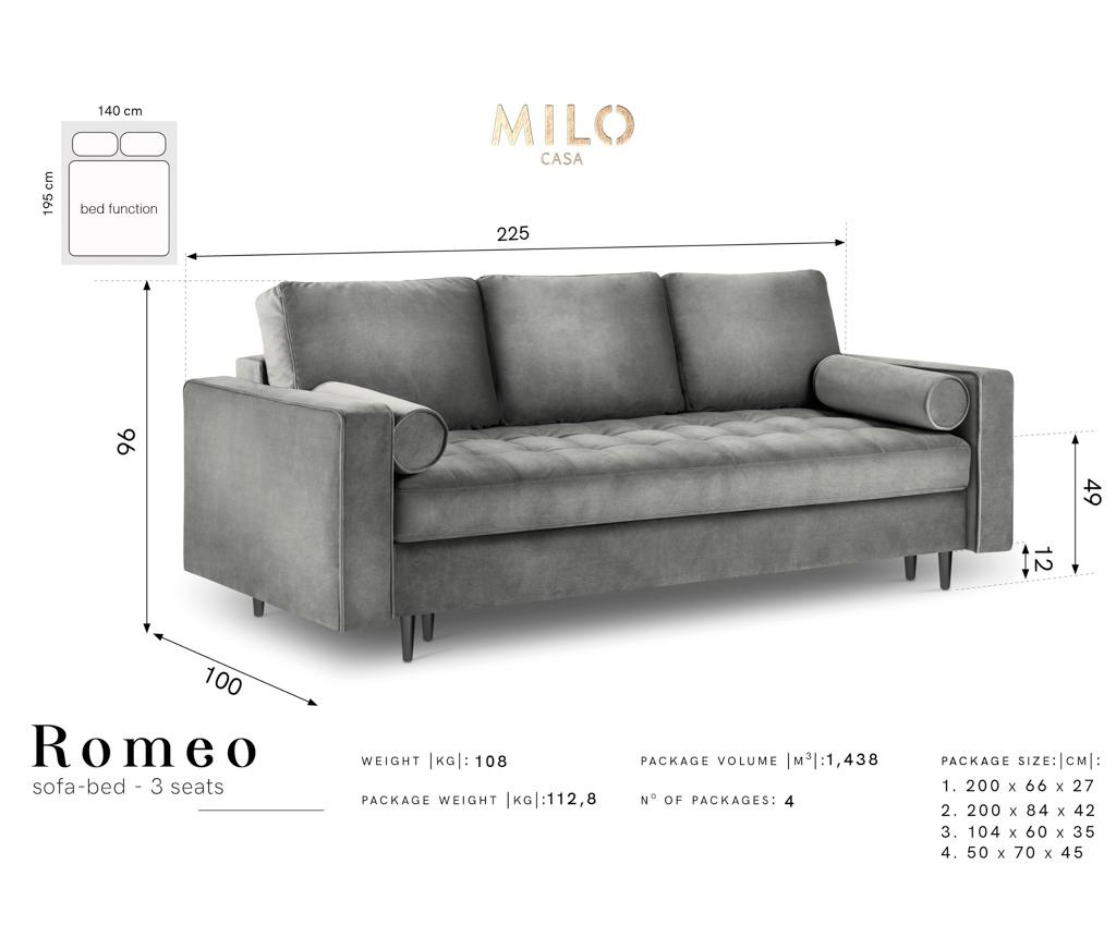 Sofa trosjed na razvlačenje Romeo Dark Grey