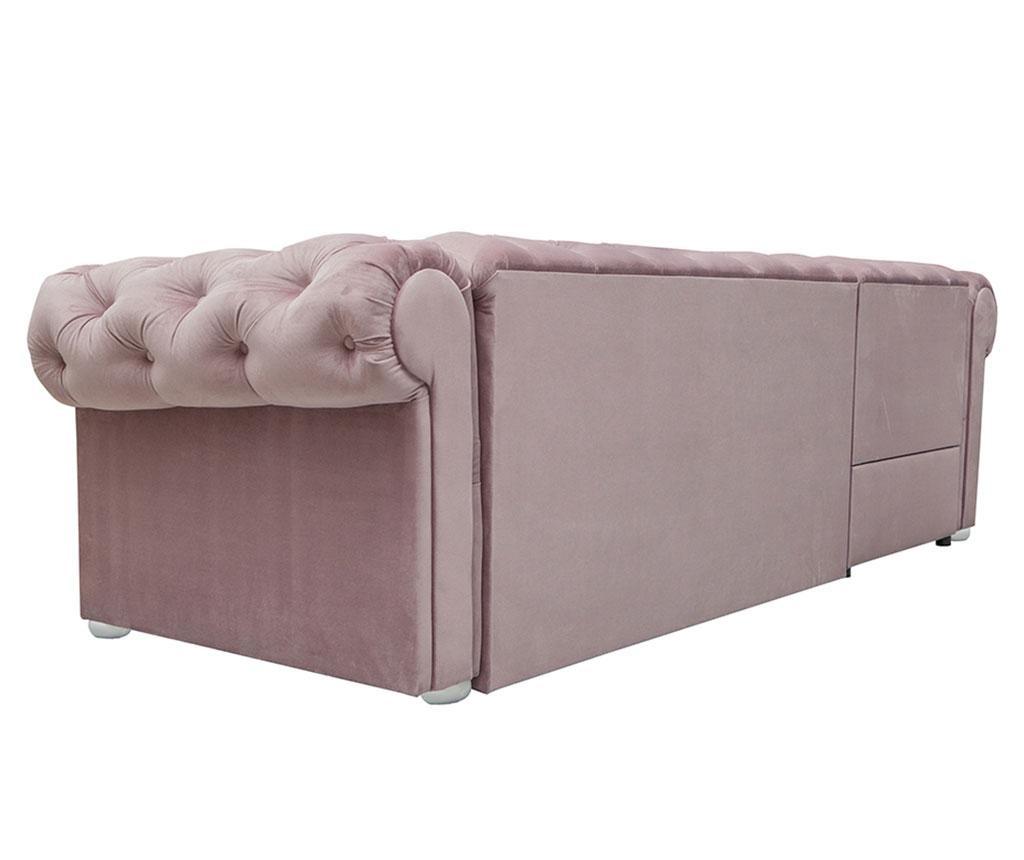 Разтегателен ляв ъглов диван Valentino Light Pink