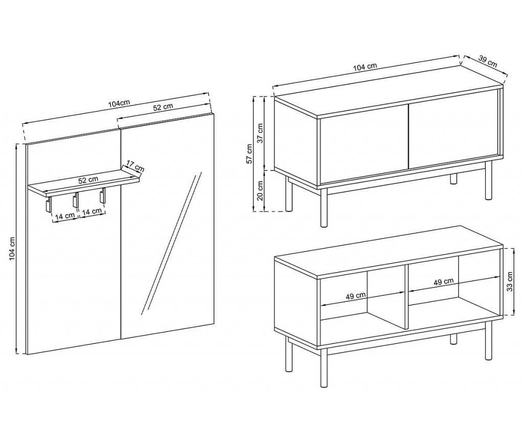 Set - konzolna miza in obešalnik