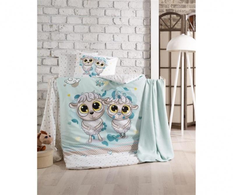 Posteljina za krevetić Happy Lambs Blue