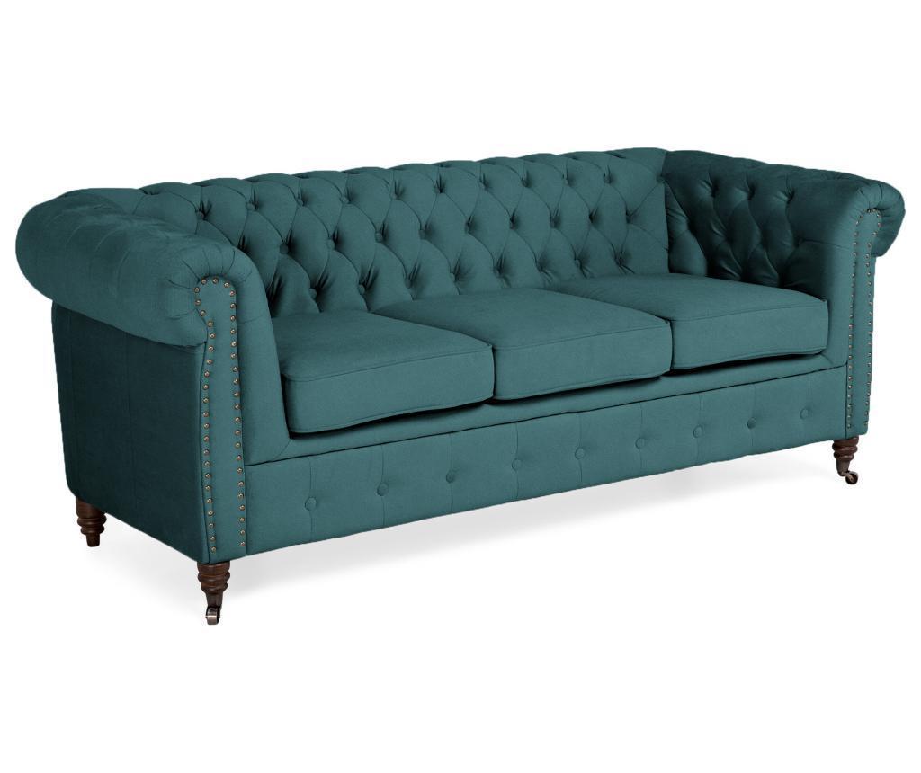 Kalatzerka Canapea Chesterfield Bluegreen Turquoise Velvet