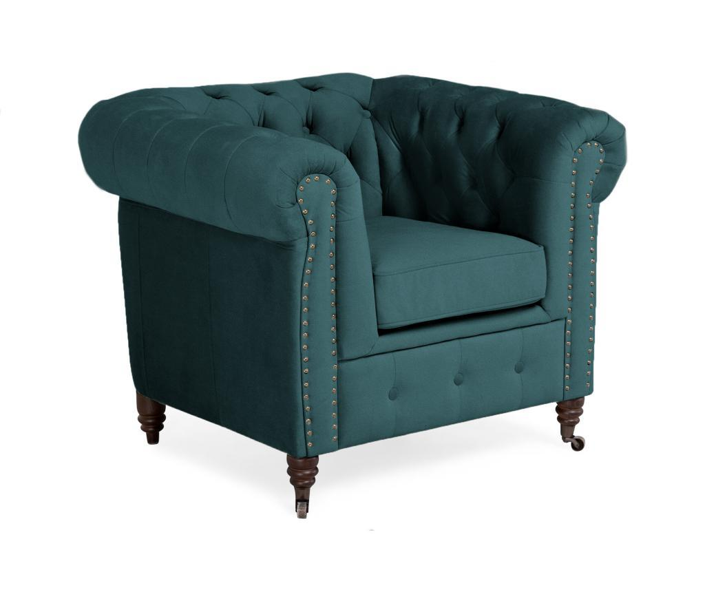 Fotoliu Chesterfield Bluegreen Turquoise Velvet Albastru - 5039