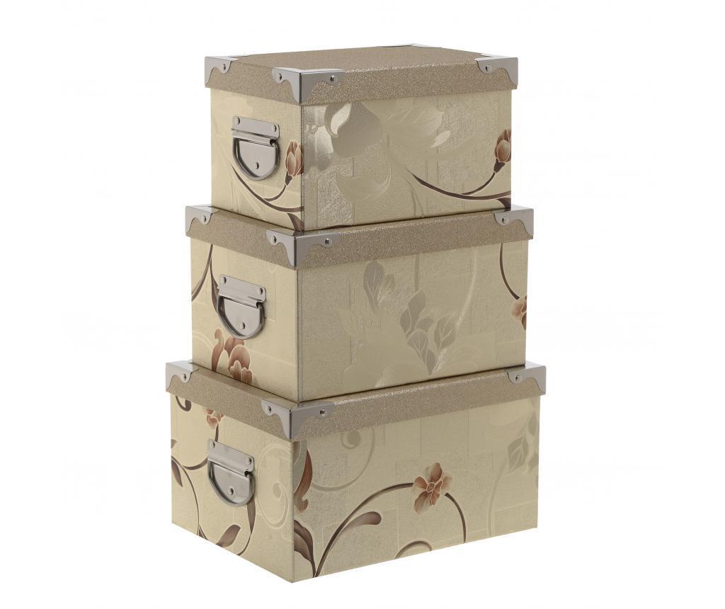 Set 3 cutii Marie - inart, Crem
