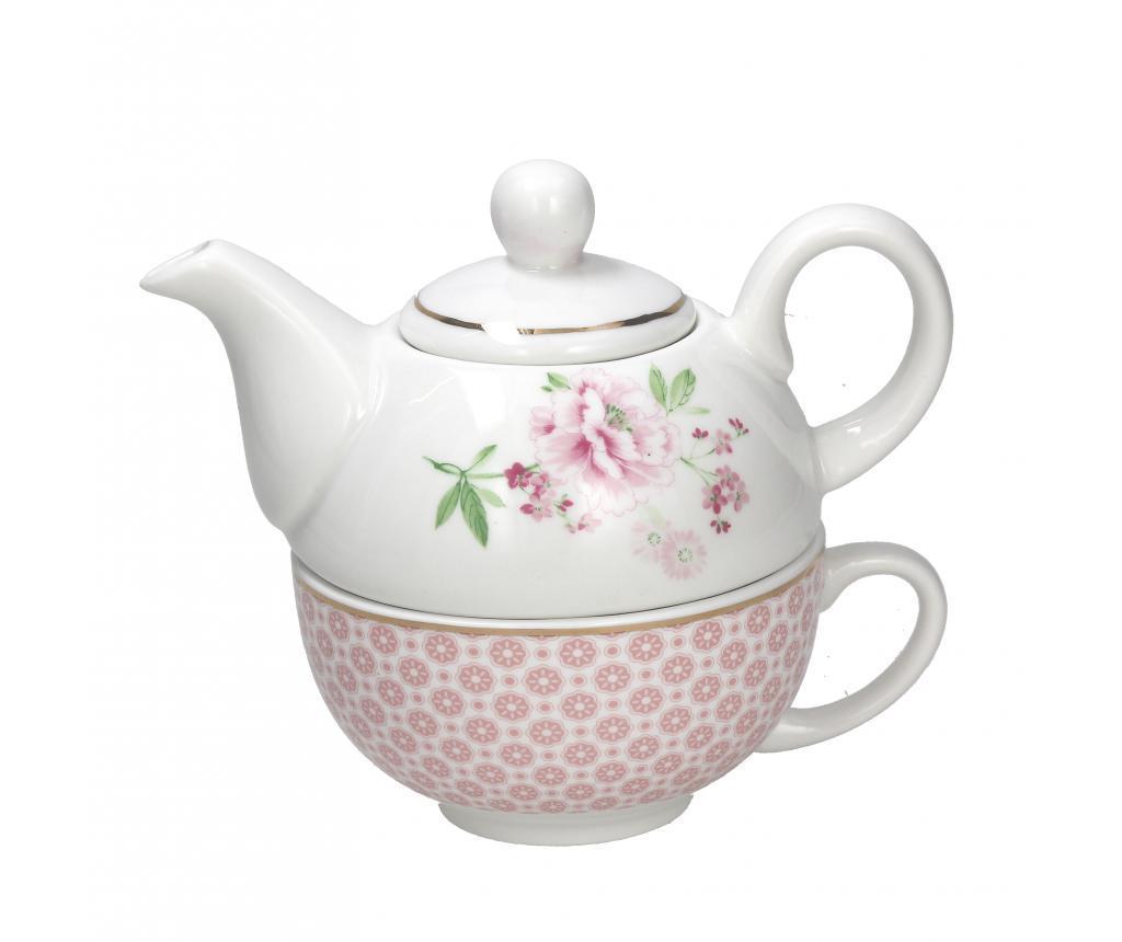 Set ceainic cu ceasca si farfurioara Relax Peony - Tognana, Roz