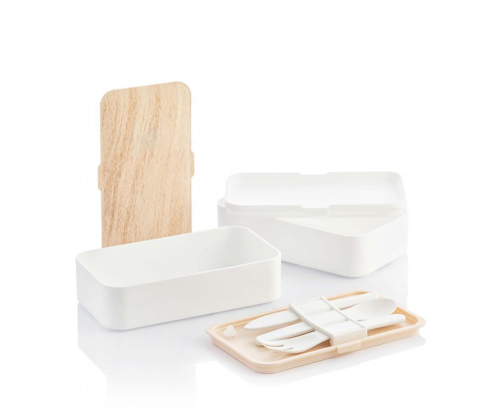 Cutie pentru pranz cu tacamuri - InnovaGoods, Alb