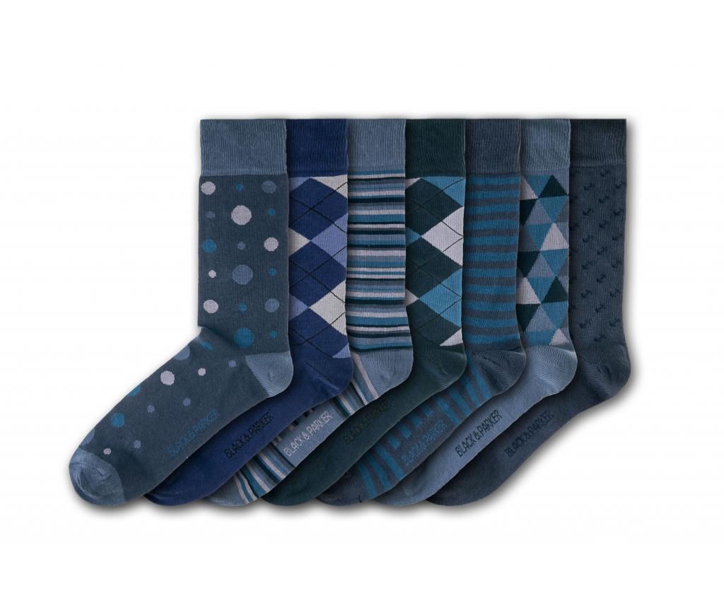 Set 7 perechi de sosete unisex Burnby Hall Gardens 37-43 - Black&Parker, Multicolor