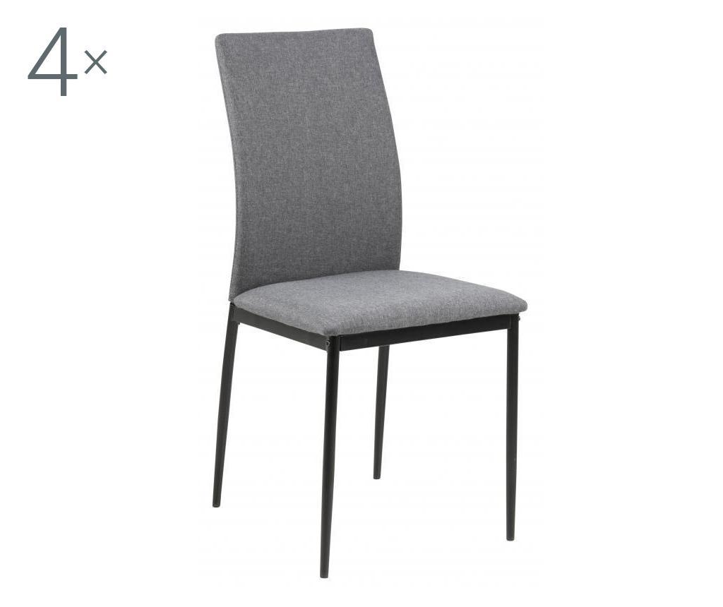 Set 4 scaune dining Demina Grey - actona, Gri & Argintiu