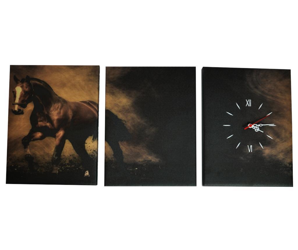 Set 3 tablouri si ceas Horse