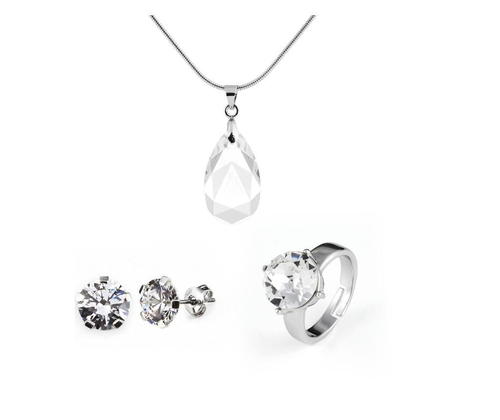 Set lantisor cu pandantiv, inel si cercei Aine - VANCRYSTALS, Gri & Argintiu
