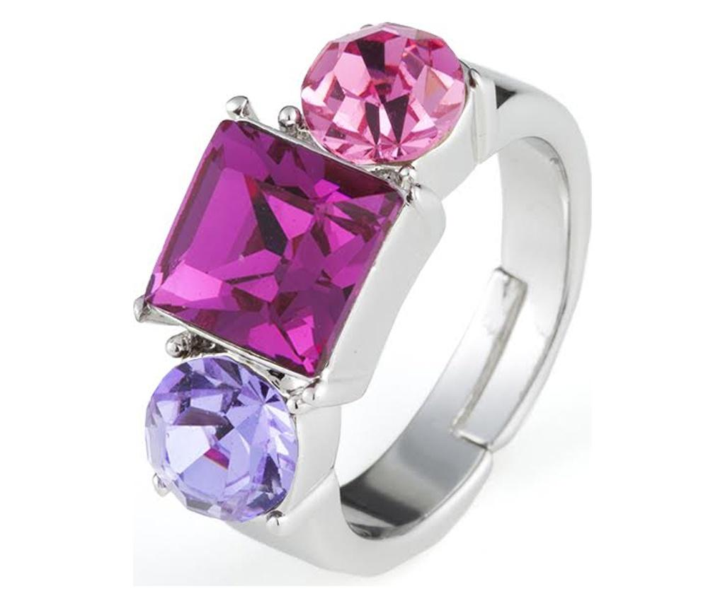 Inel Siris Silver, Pink And Purple 20 mm - VipDeluxe, Gri & Argintiu
