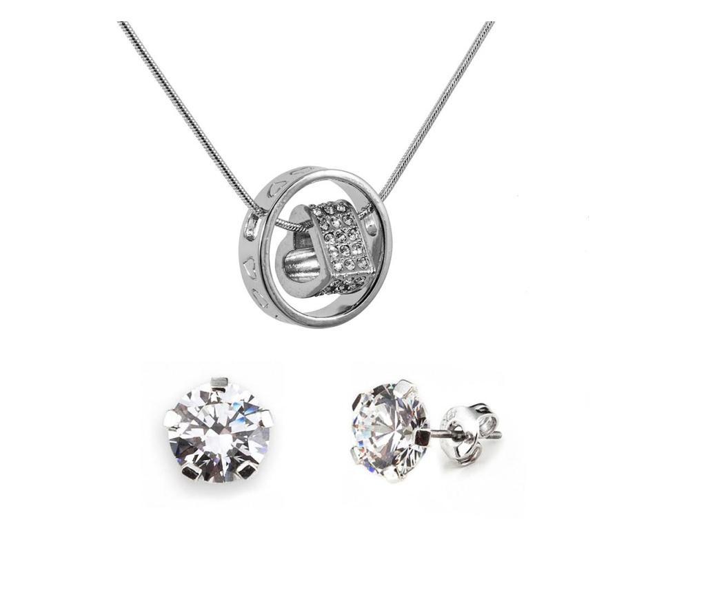 Set lantisor cu pandantiv si cercei Passion Silver - VipDeluxe, Gri & Argintiu
