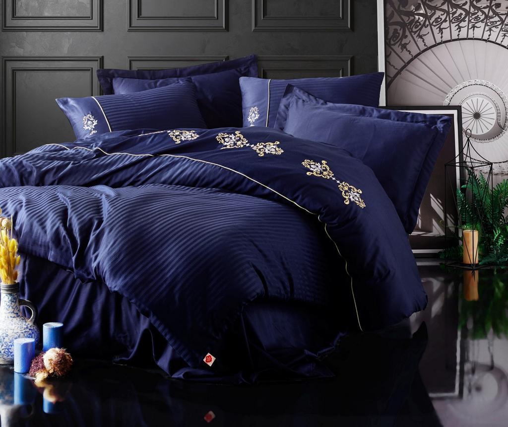 Lenjerie de pat King Satin Supreme Premium Embroided Dark Blue - Cotton Box, Albastru