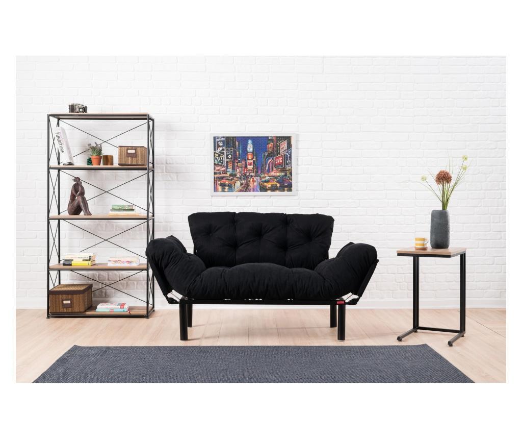 Canapea extensibila cu 2 locuri Futon Black - FUTON, Negru