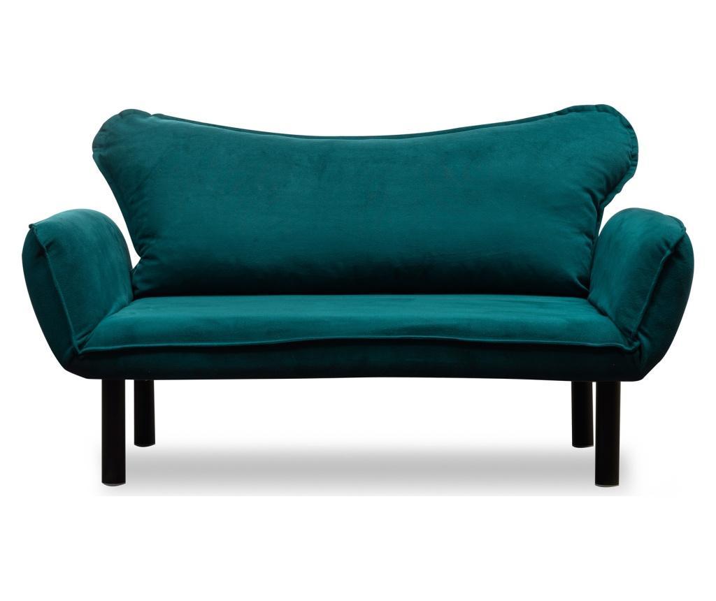 Canapea extensibila cu 2 locuri Carla Blue Petrol - FUTON, Albastru
