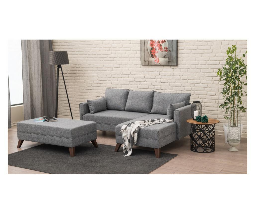 Coltar dreapta cu taburet pentru picioare - Balcab Home, Gri & Argintiu