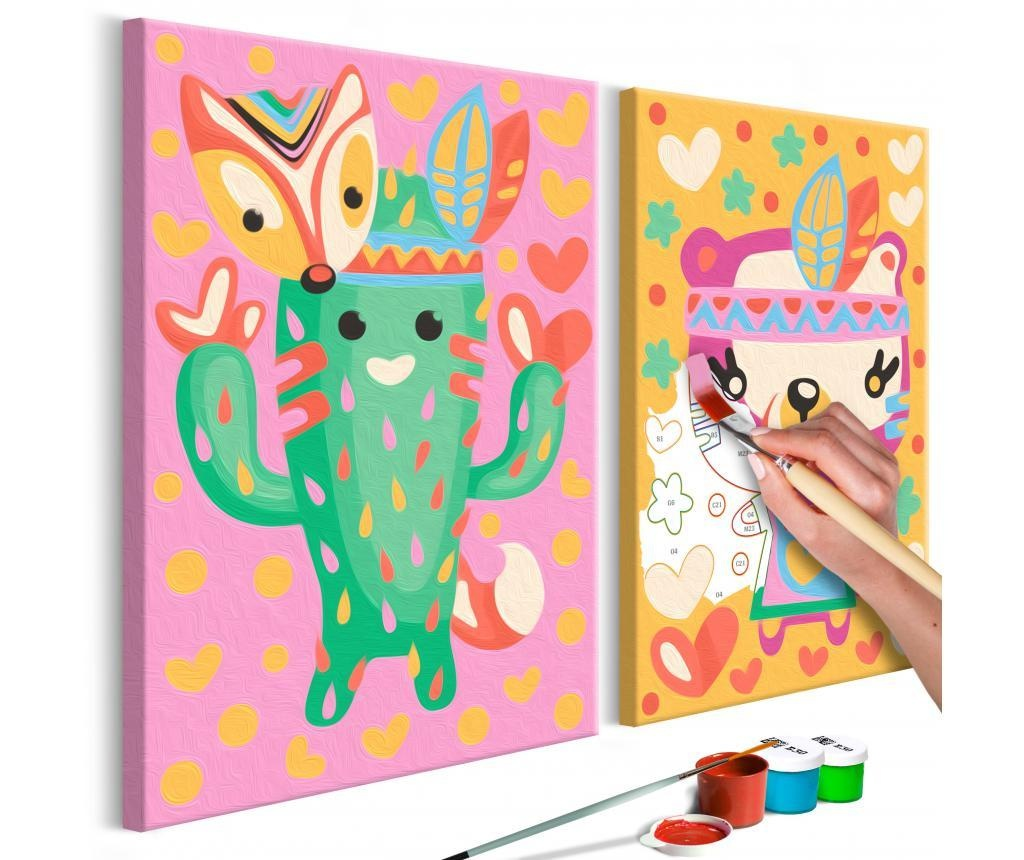 Set 2 tablouri DIY dupa numere Cactus & Bear 16.5x23 cm