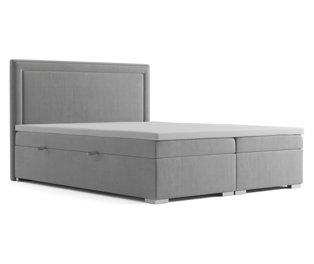 """<span class=""""title-long"""">Pat boxspring cu spatiu pentru depozitare Annecy Light Grey 180x200 cm - Maison De Reve, Gri & Argintiu</span>"""