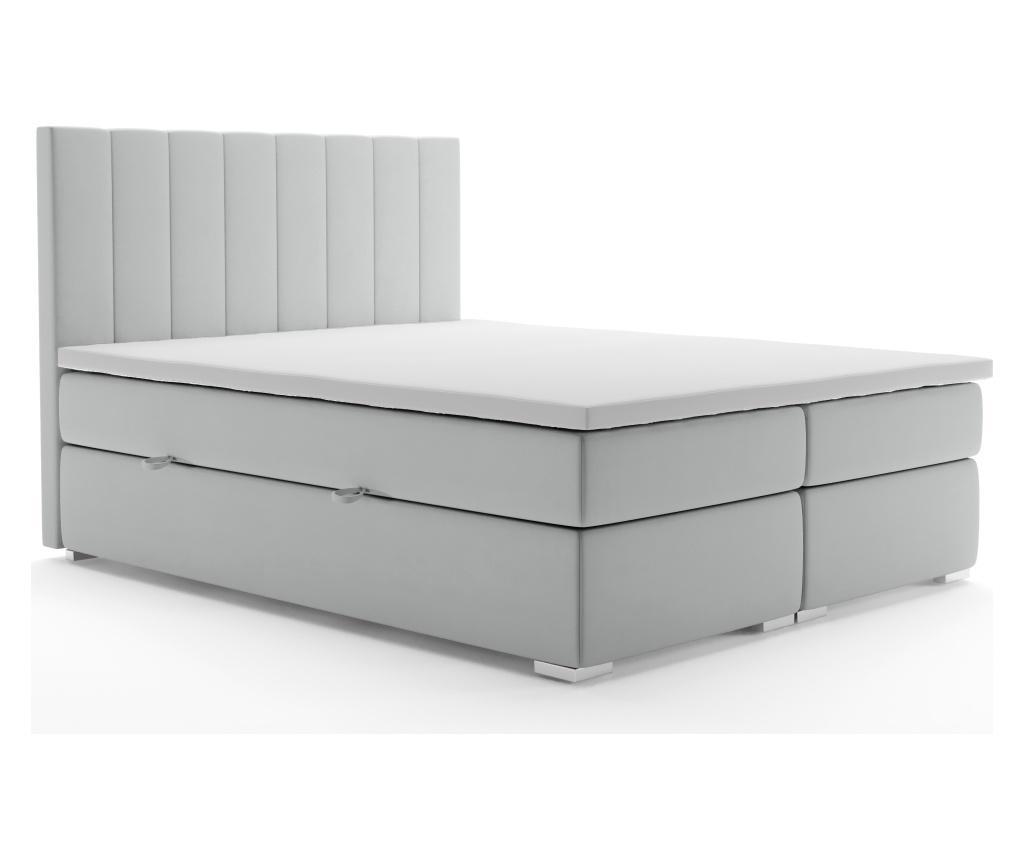Pat Boxspring Cu Spatiu Pentru Depozitare Saint Tropez Light Grey 180x200 Cm - Maison De Reve, Gri & Argintiu