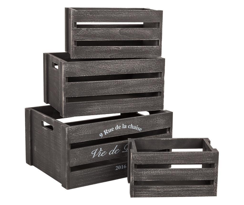 Set 4 cutii - Creaciones Meng, Negru