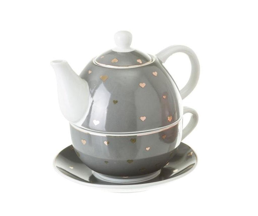 Set ceainic cu ceasca si farfurioara Goldy - Casa Selección, Gri & Argintiu