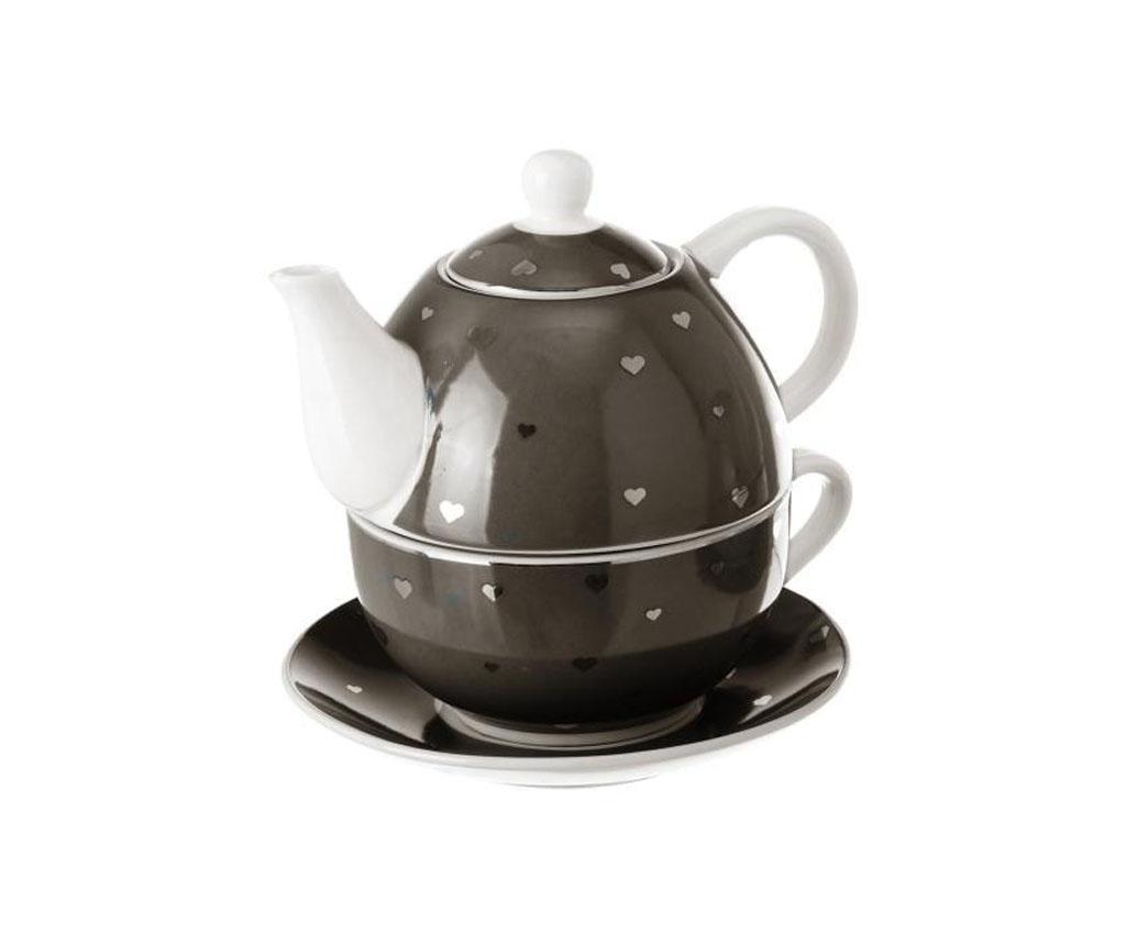 Set ceainic cu ceasca si farfurioara Goldy - Casa Selección, Negru